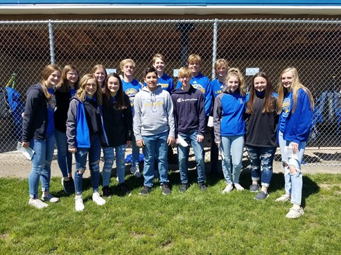 Junior High Choir members sang the National Anthem for Opening Day at the Middle Point Ballpark on Saturday May 8th, 2021.